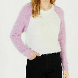 Planet Gold L White Fuzzy Cropped Sweater 6R72